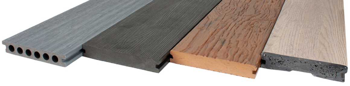 A variety of decking boards